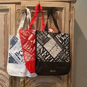 Lululemon Shopping Bags Lot of 3